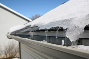 Ice on the roof and gutter